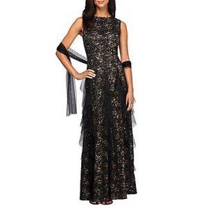 NWT Alex Evenings Tan Black Lace Ruffle Dress